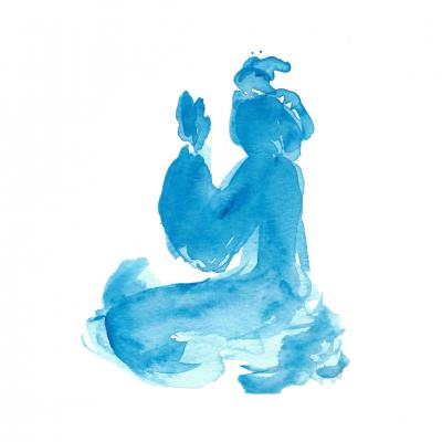 Drawing by Jasmina Mouchrique - Meditation (bleu ink on paper)
